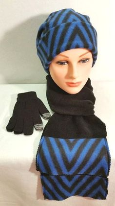 Herringbone Black and Blue Print Hat and Scarf, Blue Herringbone Hat, Black Herringbone Hat and Scarf, Pattern Fleece Hat, Royal Blue Hat by StephFleeceDesigns on Etsy