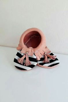 Baby striped mocs