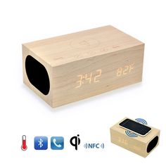 Original X5 QI Wireless Charging Wood Clock Bluetooth Speaker with NFC,Dual USB Charger,Alarm Clock,Temperature Handsfree Phone
