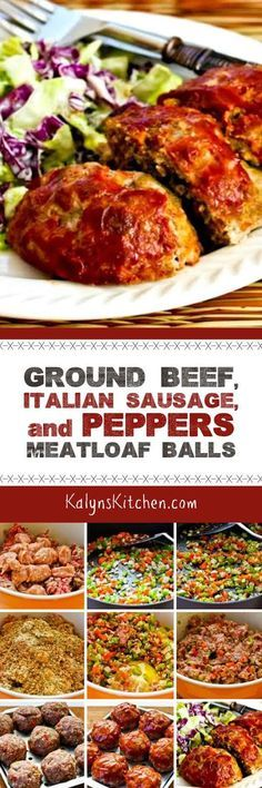 Ground Beef, Italian Sausage, and Peppers Meatloaf Balls are a fun take on regular meatloaf. This recipe is low-glycemic, dairy-free, and South Beach Diet friendly; switch out the small amount of breadcrumbs for almond meal if you want a version that's low-carb and gluten-free. [found on KalynsKitchen.com]