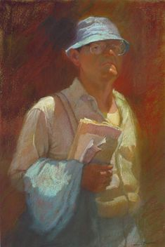 """Man With Suspenders and Blue Hat, pastel on paper, 16x24"""" by Sally Strand"""