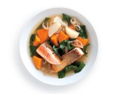 This light but richly flavored broth is good with any fatty, skin-on fish fillet, such as Arctic char or sea bass.