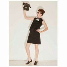 Total black with a white tie finish  Womens Fashion For Work, Work Fashion, Black Tops, Black And White, Black Layers, Total Black, Black Blouse, Summer Collection, A Line Skirts