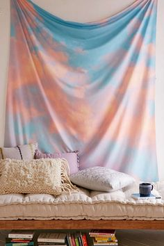 Lisa Argyropoulos For DENY Beyond The Sky Tapestry from Urban Outfitters. Saved to Urban Outfitters Products. Tapestry Bedroom, Wall Tapestry, Tapestry On Ceiling, Mandala Tapestry, My Living Room, Living Spaces, Cool Tapestries, Creative Kids Rooms, Shops
