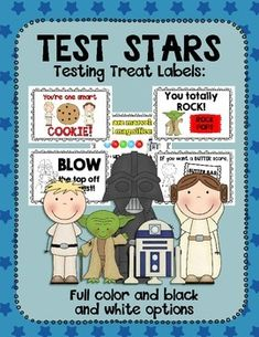 This packet includes treat labels to motivate your test takers. The set comes in a Star Wars inspired theme and includes the following:Includes full color and black and white versions:-Ten different treat labels including labels forMilky Ways, Nestle Crunch or granola bars, Smarties, Pop Rocks, M&Ms, Extra gum, Blow Pops, Cookies, Butter Fingers, and Tootsie Rolls.Visit my store for other test prep materials:Treat Labels and Test Prep MaterialsDid you know you can earn TpT credits to us...