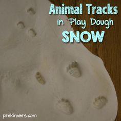 Animal Tracks in Play Dough Snow