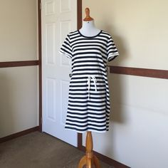 NWT Striped Jersey Dress Navy and white stripes, tie waist, 100% cotton, round neck, short sleeves. Brand new with tags, never worn. No trades plz. 15% off bundles of 2! Sonoma Dresses