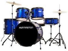 Huntington DRM500-MBU 5 Piece Drum Set Throne, Metallic Blue by Huntington. $399.00. Everything you need to rock in one box. The Huntington DRM500 5 piece drum set is the ultimate starter full size drum set and is compatible with all types of drum accessories. The drum set includes the following features: 8 ply poplar shells, anodized black metal hoops and anodized black metal hardware with chrome accents and double braced stands. Accessories included: 22 inch kick drum, 1...