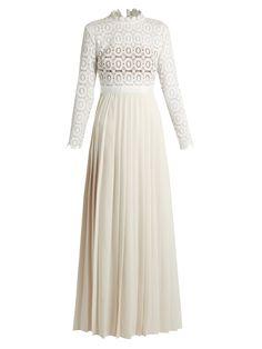 574203b9c931d Long-sleeved lace and crepe maxi dress | Self-portrait | MATCHESFASHION.COM