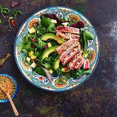 Seared+Tuna+Steak+Salad+With+Ginger+&+Lime+Vinaigrette - from Lakeland Tuna Recipes, Healthy Eating Recipes, Keto Recipes, Healthy Food, Cooking Tips, Cooking Recipes, Seared Tuna, Lime Vinaigrette, Tuna Steaks