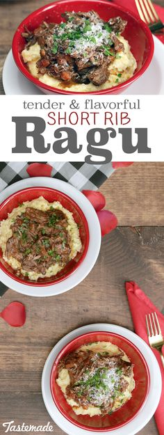 Elevate ragu with wine, incredibly tender beef and a bed of creamy polenta.