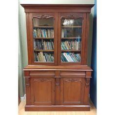 Victorian two door bookcase in mahogany. Mahogany Bookcase, Victorian, Shelves, Doors, House, Furniture, Ideas, Home Decor, Shelving