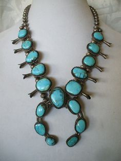 Classic Vintage NAVAJO Sterling Silver & TURQUOISE Squash Blossom NECKLACE.  TurquoiseKachina, $674.10