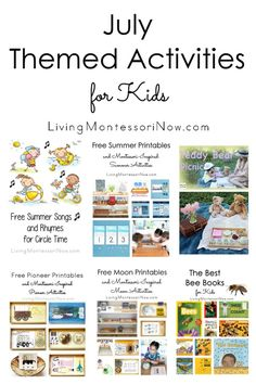 Lots of July themed activities according to holiday or calendar observances; fun ways to prevent summer slide for multiple ages - Living Montessori Now #July #summer #Montessori #calendar #Julyactivities Preschool Themes, Activities For Kids, Preschool At Home, Summer Slide, Summer Fun, Free Summer, Montessori Homeschool, Homeschool Curriculum, Bee Book