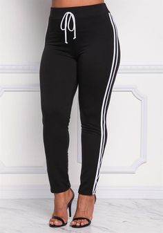 Plus Size Clothing   Plus Size Two Stripe High Rise Pants   Debshops
