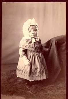 Victorian Era Photo Boy Child with bonnet and long dress by OldPaperAndPages, $6.50