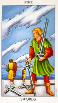 Five of Swords Tarot: Engaging in conflict, leading to tension and hostility. Despite thinking you have won, you may end up the loser because you've hurt others & have isolated yourself. Or can an also represent conquest that alienated others. May indicate defeat, accept it. Or it can relate to betrayal by someone you trust & don't suspect, be careful. Pick your battles for a peaceful existence & strengthened interpersonal relationships.
