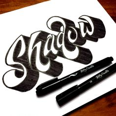 Add Dimensional Shadows to Hand Lettering – Kelly Creates Graffiti Lettering Fonts, Tattoo Lettering Fonts, Hand Lettering Alphabet, Creative Lettering, Cool Lettering, Lettering Styles, Lettering Design, Typography Sketch, Shadowing Letters