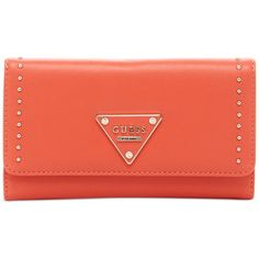 Guess Thompson Slim Clutch Wallet ($30) ❤ liked on Polyvore featuring bags, wallets, coral, red bag, slim wallet, coral bag, guess bags and coral wallet