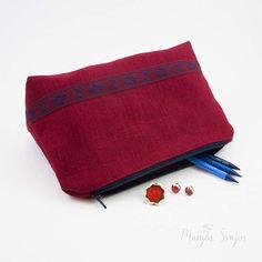 Red Travel Organiser   Colorful Zipper Bag  Bohemian
