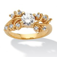 .80 TCW Round Cubic Zirconia and Crystal Ring in 14k Gold-Plated at Viomart.com