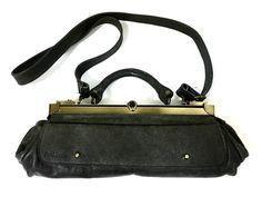 Gray Leather handbag Cross body Bag Purse By Anat Zamir Israel  #AnatZamir #MessengerCrossBody
