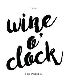 Qty 4 - 'It's Wine O'Clock Somewhere' Custom Wine Labels - Birthday Gift, Wine Gift, Custom Wine Label, Party Gift, Party Favor, Wine Favor