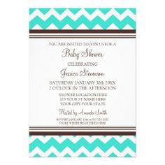 Aqua Brown Chevron Custom Baby Shower Invitations
