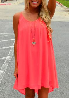 This neon racerback shift dress comes in a vivid orange color that's bound to make heads turn. It also has a racerback design which complements this shift dress for that classy feel.
