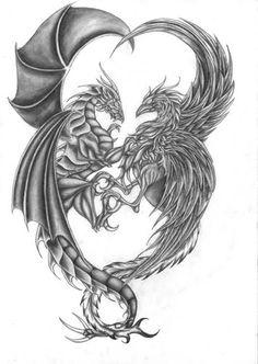 dragon and phoenix <3