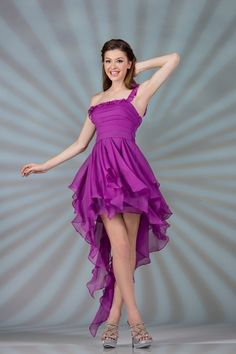 nCIN7705PURPLE ONE-SHOULDER RUCHED RUFFLE CHIFFON UNIQUE HIGH LOW LONG DRESS FOR PROM MILITARY BALL WINTER FORMAL AND PEGEANT SHOW