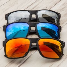 ee0d87aa77c GAMMA RAY Polarized UV400 Classic Sunglasses with Shatterproof Nylon Frame  Black Frame Orange Mirror Lens