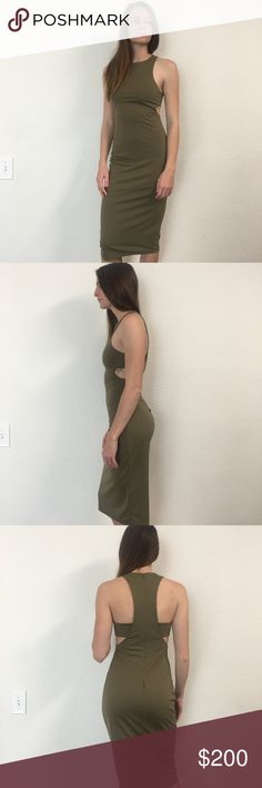 T by Alexander Wang overlap olive dress NET size xs and can fit smalls! This will be amazing on curvy smalls since it hugs all the right places 😍 T by Alexander Wang Dresses
