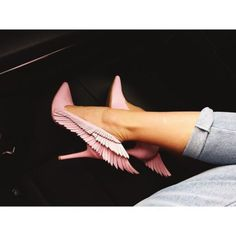 shoes stilettos pink pale pink heels wings shoes pastel pink dope wings pink heels pointed toe y-r-u