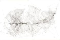 WV 2012-420 Emotional Spectrum A-Z Internes Zentrum; Multiple Achse Internes Zentrum – Internes Zentrum; Extract; 7 Externe Zentren; Ausrichtung externe Zentren 1-7; Rotationsrichtung; Rotationsgeschwindigkeit 1-81 Umdrehungen/Tag Jorinde Voigt Berlin 2012 140 x 210 cm Tinte, Bleistift auf Papier Unikat Signiert