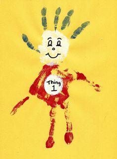 Hand print Thing 1 - Dr. Seuss Craft | thisgirlslifeblog.com