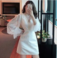 DM/Inbox for more info 📩  Ulzzang Fashion, Kpop Fashion, Asian Fashion, Girl Fashion, Fashion Design, Cute Casual Outfits, Casual Dresses, Fashion Dresses, Pretty Dresses