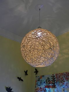 So gorgeous, so easy ~ twine lamp shade. #diy #craft - no idea if there would even be a need for this- but how cool!