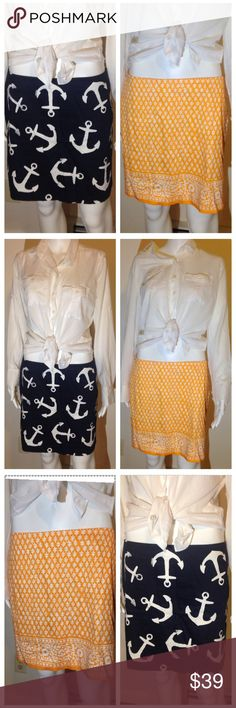 🎀J.Crew BUNDLE💖💖Skirt Bundle Size 6 💖💖💖J.Crew Skirt Bundle Size 6. anchor print and abstract print. These skirts are great for spring, summer, and all season. parties, beach road trips,  shopping girly cute preppy hot sexy trendy formal informal work attire nice Hot beautiful wedding bridal bridesmaid engagement cruises vacation island retreat pretty dress ballroom spring fling fun outdoors hip hugging J. Crew Skirts Midi