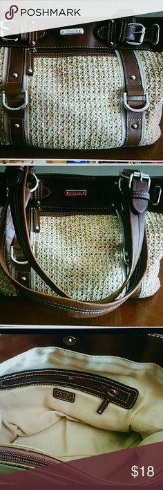Selling this CHAPS by Ralph Lauren Straw & Faux Leather Handbag on Poshmark! My username is: dewcrew. #shopmycloset #poshmark #fashion #shopping #style #forsale #CHAPS Ralph Lauren #Handbags