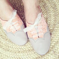 Scalloped gray and peachy pink leather and suede Oxfords Handmade Shoes