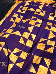 Close up of crown Royal quilt.  Available on Etsy.com     https://www.etsy.com/listing/192647073/crown-royal-custom-quilt?ref=shop_home_active_5