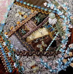 Love the crazy quilt block...with the blue embroidery stitching.Check out block of crazy quilting group - CQJP 2012 Blog