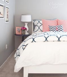 Gray & White with coral and navy - colors for a guest room