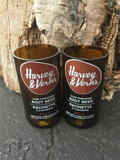 Harvey & Vern's Root Beer Soda - Upcycled Drinking Glass- Set of 2 Coffee Bottle, Beer Bottle, Drinking Glass, Root Beer, Soda, Pure Products, Drinks, Drinkware, Drink