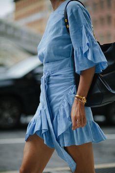 Pretty blue ruffled dress