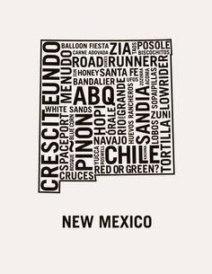 Typographic Map of New Mexico I made in the style of Ork Posters Edit: Misspelled Bandelier. Uploaded the corrected files. Hobbs New Mexico, New Mexico Style, New Mexico Homes, Duke City, Colorado, Albuquerque News, New Mexican, Land Of Enchantment, All Things New