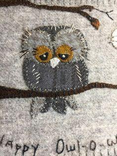 Happy Owl-o-Ween  wool appliqué pattern
