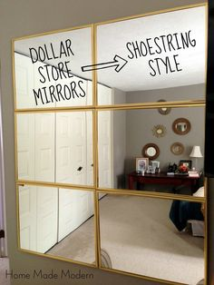 Idea for my closet wall Home Made Modern Tightwad Tuesday 6 Mirror from the Dollar Store Home Gym Mirrors, Wall Mirrors, Mirror Mirror, Gym Mirror Wall, Wall Mirror Ideas, Painting Mirrors, Mirror Headboard, Mirror House, Sunburst Mirror