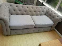 Beliani 3 Seater Fabric Chesterfield Sofa - Grey · $50.00 Fabric Chesterfield Sofa, Sofa Deals, Sofa Set, Couch, Grey, Furniture, Home Decor, Gray, Settee